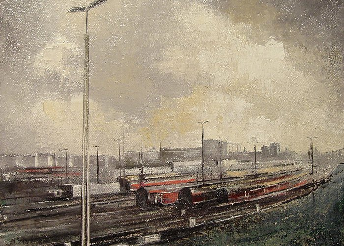 Train Greeting Card featuring the painting Train station by Tomas Castano