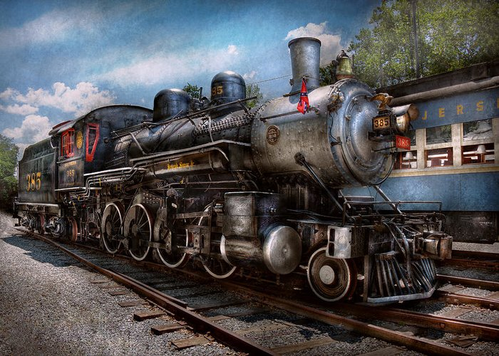 Train Greeting Card featuring the photograph Train - Steam - 385 Fully Restored by Mike Savad