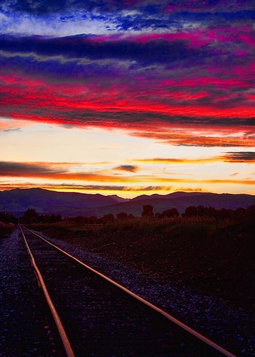 Train Tracks Greeting Card featuring the photograph Train Track Sunset by James BO Insogna