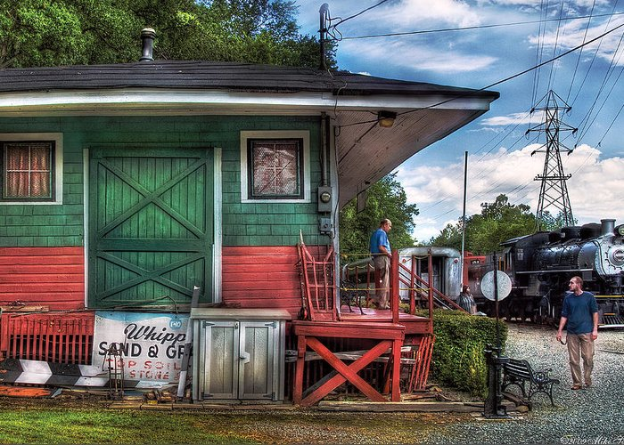 Savad Greeting Card featuring the photograph Train - Yard - The Train Station by Mike Savad