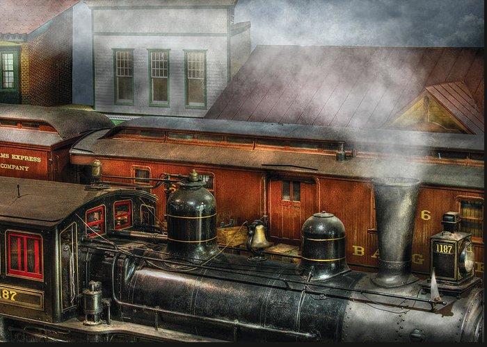 Savad Greeting Card featuring the photograph Train - Yard - The Train Yard II by Mike Savad
