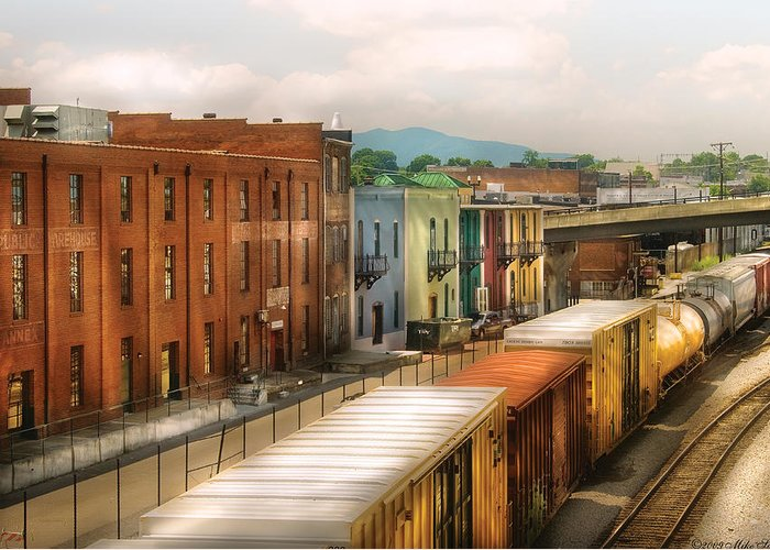 Savad Greeting Card featuring the photograph Train - Yard - Train Town by Mike Savad