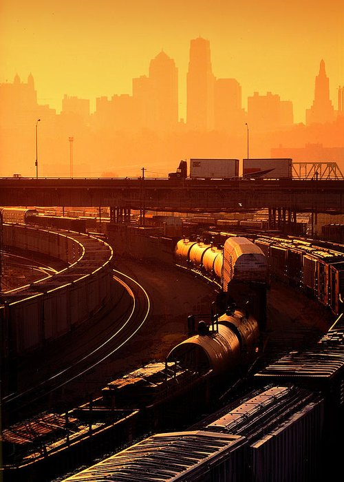 Train Greeting Card featuring the photograph Trains At Sunrise by Don Wolf