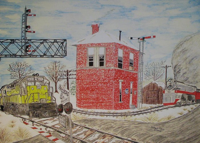 Train Greeting Card featuring the painting Trains In Motion by Kathy Marrs Chandler