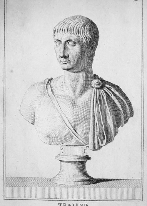 2nd Century Greeting Card featuring the photograph Trajan (c52-117) by Granger