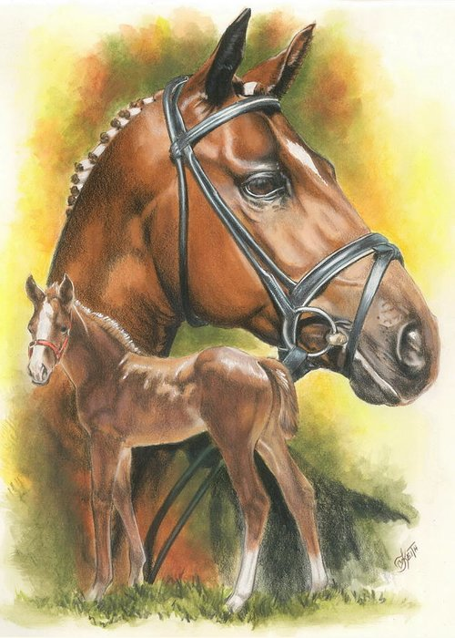 Jumper Hunter Greeting Card featuring the mixed media Trakehner by Barbara Keith