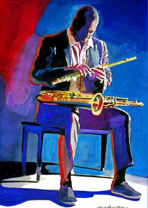 Coltrane Greeting Card featuring the painting Trane - John Coltrane by David Lloyd Glover
