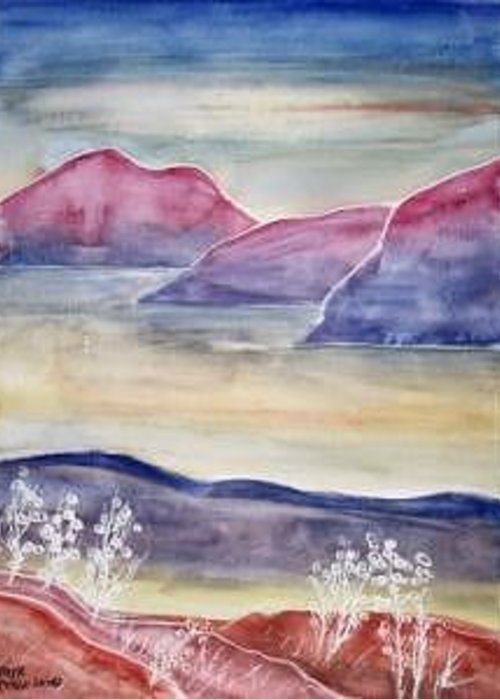 Watercolor Greeting Card featuring the painting TRANQUILITY 2 mountain modern surreal painting print by Derek Mccrea