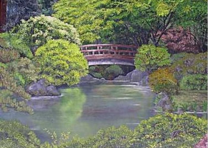 This Peaceful Scene Is An Artist's Rendition Of The Japanese Gardens Greeting Card featuring the painting Tranquility by Darla Boljat