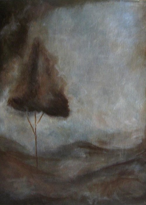 Brown Greeting Card featuring the painting Tranquility by Ellen Lewis