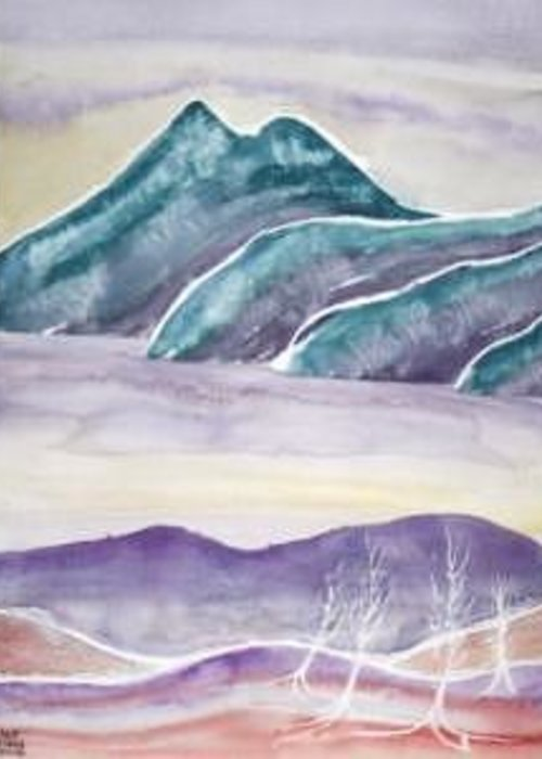 Watercolor Greeting Card featuring the painting TRANQUILITY landscape mountain surreal modern fine art print by Derek Mccrea