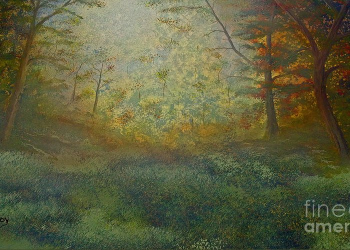 Trees Greeting Card featuring the painting Tranquility by Todd Androy