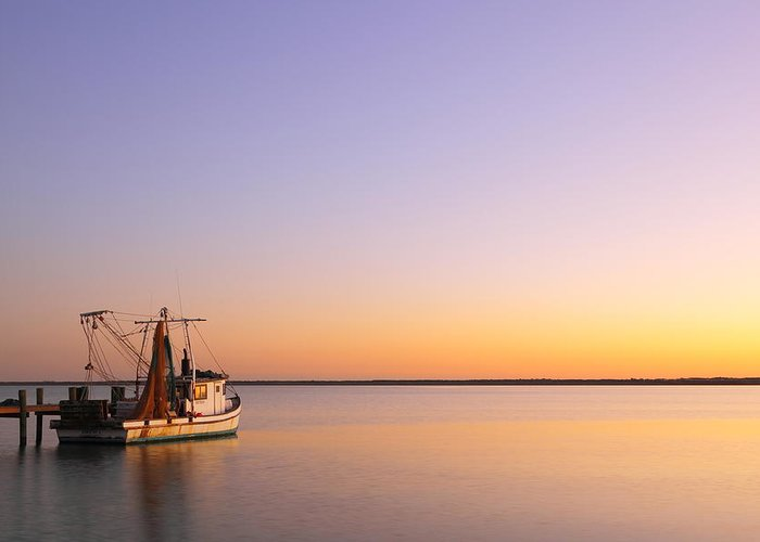 Texas City Greeting Card featuring the photograph Shrimp Trawler At Dusk 2am-109249 by Andrew McInnes