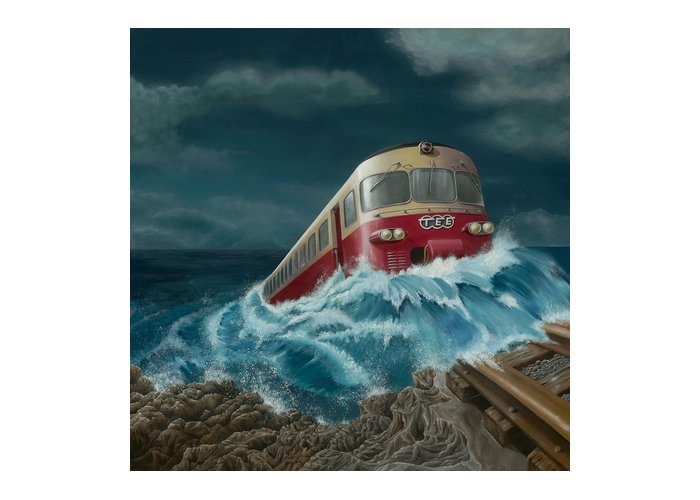 Surreal Greeting Card featuring the painting Trans Europe Express by Patricia Van Lubeck
