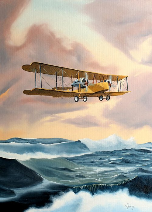 Aircraft Art Greeting Card featuring the painting Transatlantic by Kenneth Young