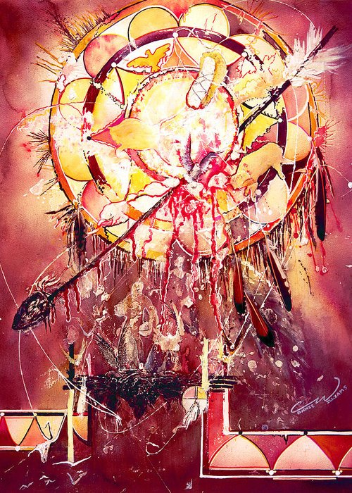 Spirits Greeting Card featuring the painting Transcending Indian Spirit by Connie Williams