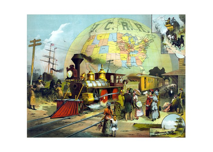 Trains Greeting Card featuring the painting Transcontinental Railroad by War Is Hell Store
