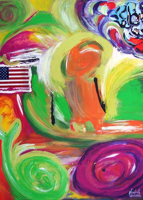 Welcome To Usa Greeting Card featuring the painting Transformations by Adriana Vasilut