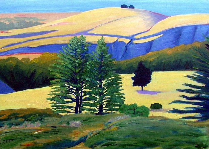 Landscape Greeting Card featuring the painting Transitions by Gary Coleman