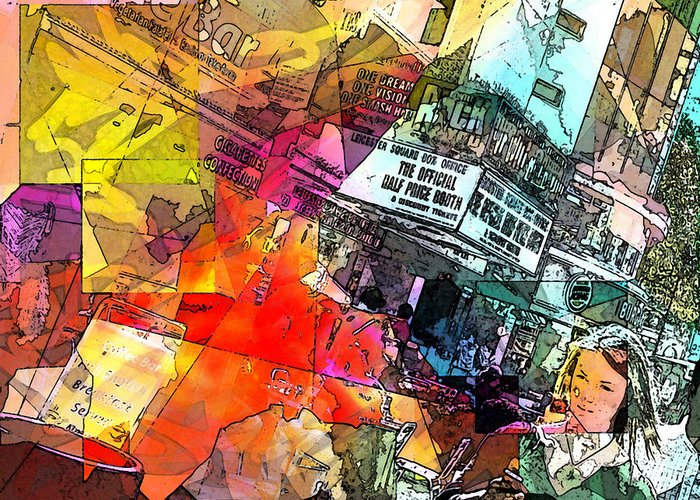 City. Colors Greeting Card featuring the digital art Translate by Agnes V