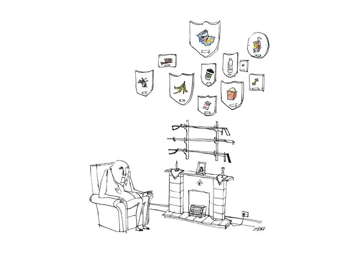 Captionless Greeting Card featuring the drawing Trash Trophies by Edward Steed