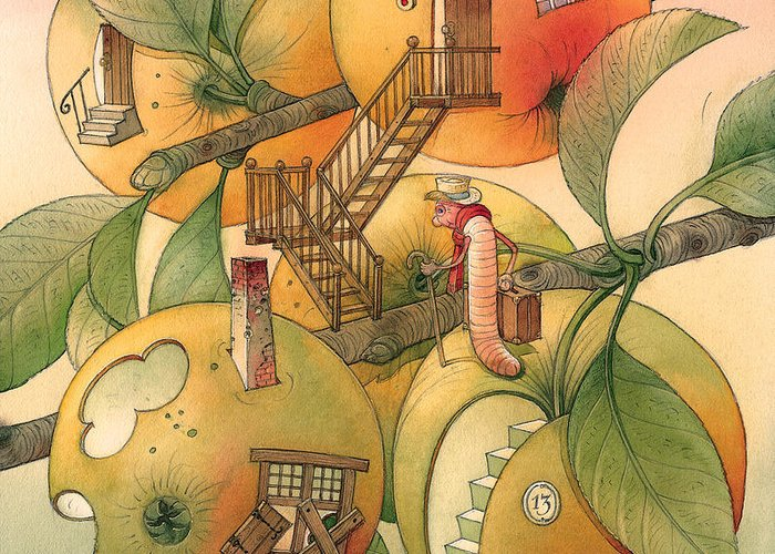 Worm Autumn Apple Garden Home Tree Evening Greeting Card featuring the painting Trawelling Worm by Kestutis Kasparavicius