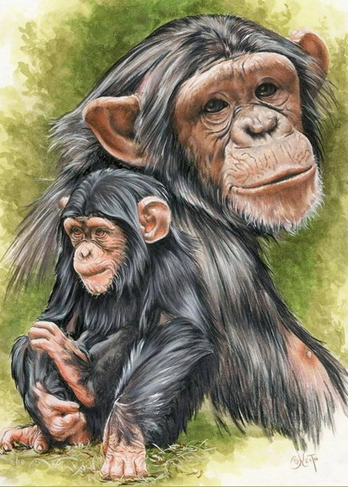Chimpanzee Greeting Card featuring the mixed media Treasure by Barbara Keith