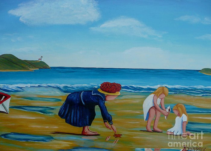 Girls Greeting Card featuring the painting Treasure Hunting by Anthony Dunphy