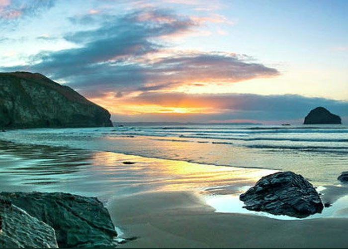 Trebarwith Strand Greeting Card featuring the photograph Trebarwith Strand Panorama by David Wilkins