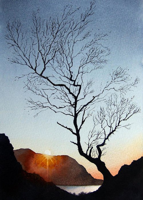 Landscape Greeting Card featuring the painting Tree Above Crummock Water by Paul Dene Marlor