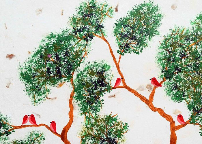 Trees And Birds Greeting Card featuring the painting Tree And Red Birds 2 by Sumit Mehndiratta