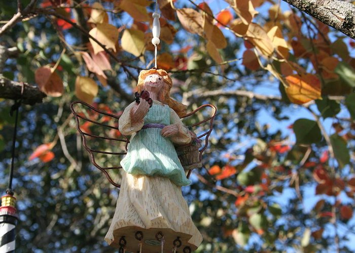 Angel Sculpture Greeting Card featuring the photograph Tree Angel by Susana Maria Rosende