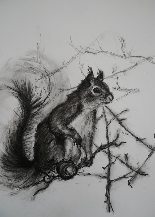 Squirrel Greeting Card featuring the painting Tree Climbing Pro. by Veronica Coulston
