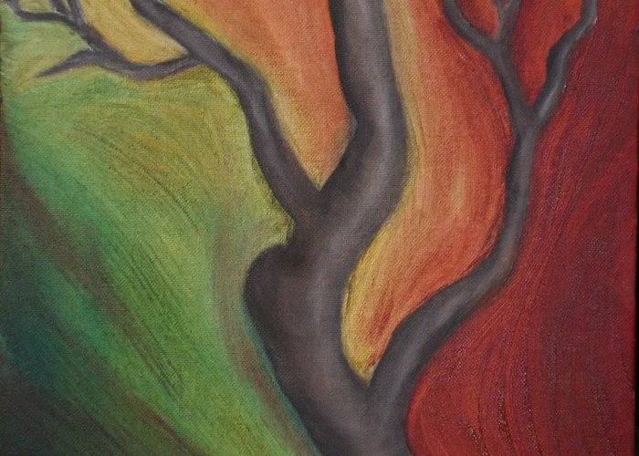 Tree Greeting Card featuring the painting Tree Dancing by Kristen Cothron