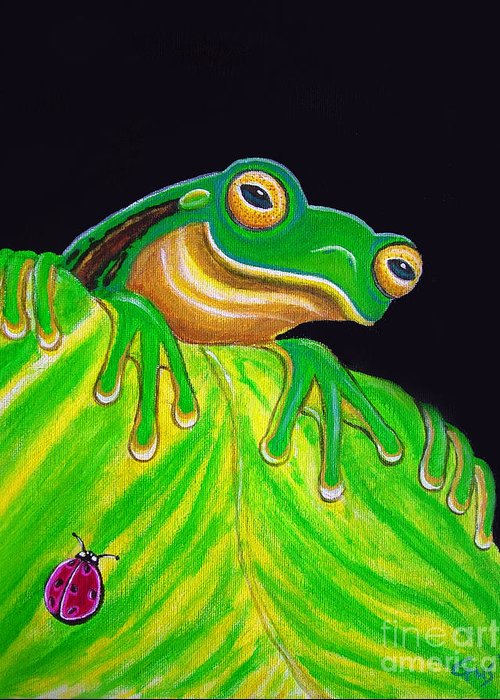 Tree Frog Greeting Card featuring the painting Tree Frog On A Leaf With Lady Bug by Nick Gustafson