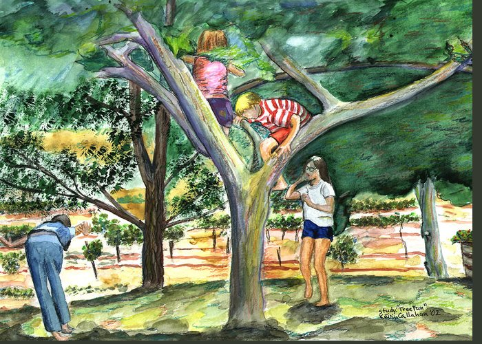 Kevin Callahan Greeting Card featuring the painting Tree Fun Study by Kevin Callahan