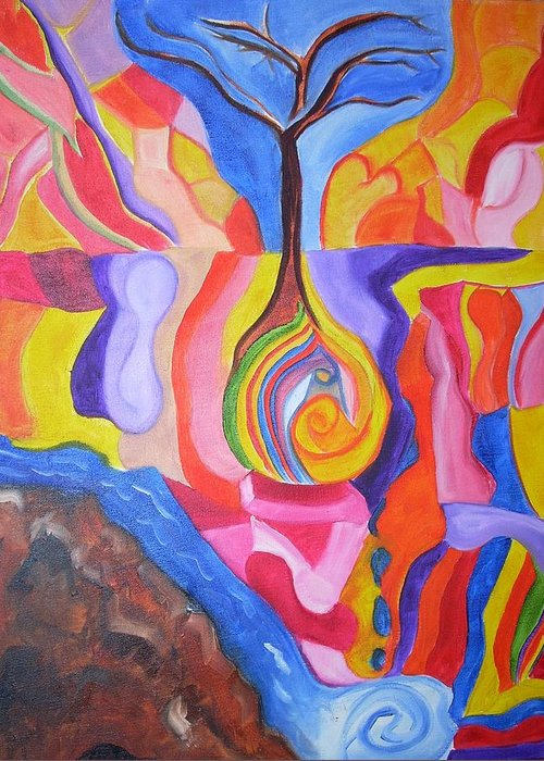 Greeting Card featuring the painting Tree Of Color by Joseph Arico