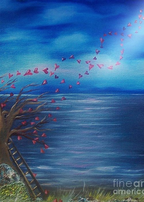 Beach Greeting Card featuring the painting Tree Of Eternal Love by Michaela Kraemer