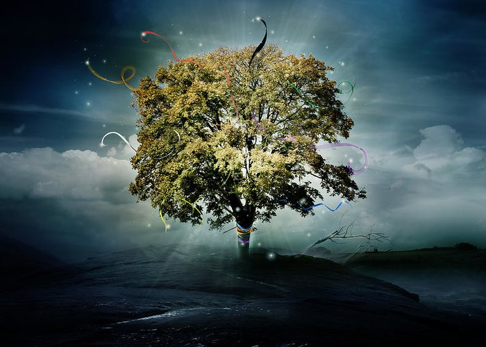 Tree Greeting Card featuring the digital art Tree Of Hope by Mary Hood