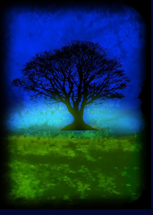 Original Greeting Card featuring the painting Tree Of Life - Blue Skies by Robert R Splashy Art