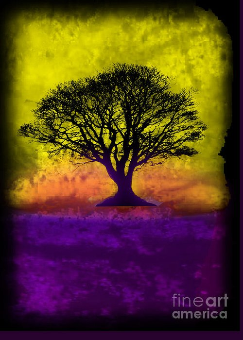 Original Greeting Card featuring the painting Tree Of Life - Yellow Sunburst Sky by Robert R Splashy Art