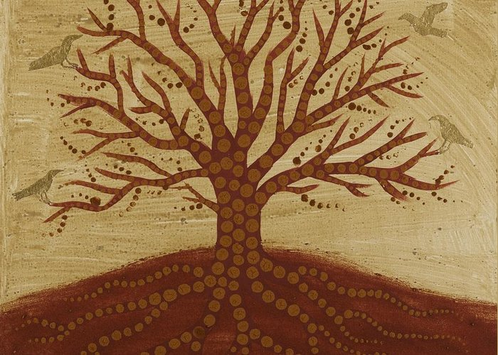 Tree Of Life Greeting Card featuring the painting Tree Of Life 3 by Sophy White
