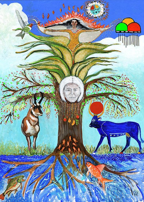 Tree Of Life With Animals And Corn Maiden Greeting Card featuring the painting Tree Of Life #5 by Alicia Otis