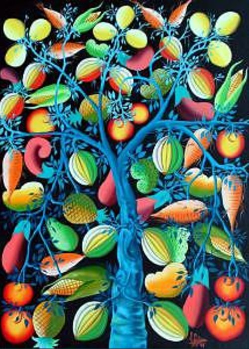 Tree Of Life Greeting Card featuring the painting Tree Of Life by Frantz Petion by Frantz Petion