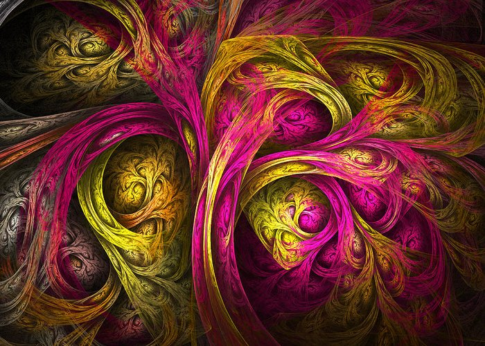 Fractal Greeting Card featuring the digital art Tree Of Life In Pink And Yellow by Tammy Wetzel