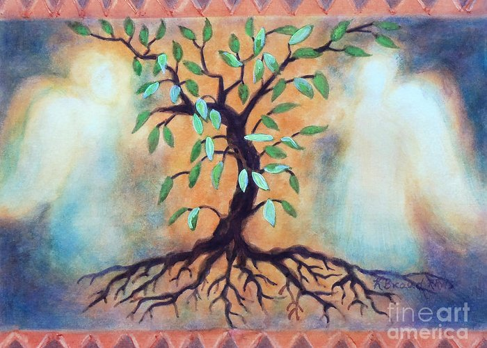 Paintings Greeting Card featuring the painting Tree Of Life by Kathy Braud