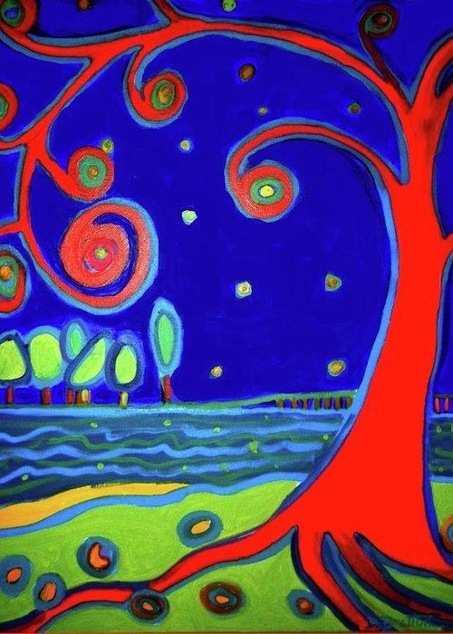 Manchester-by-the-sea Greeting Card featuring the painting tree of life Manchester-by-the-sea by Debra Bretton Robinson