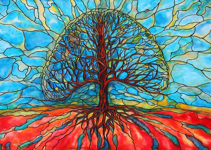 Large Greeting Card featuring the painting Tree Of Life by Rae Chichilnitsky