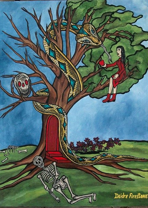 Tree Of Life Greeting Card featuring the painting Tree Of Life Temptation And Death by Deidre Firestone