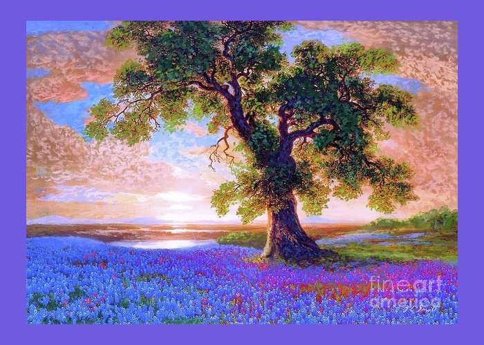 Bluebonnet Greeting Card featuring the painting Tree Of Tranquillity by Jane Small
